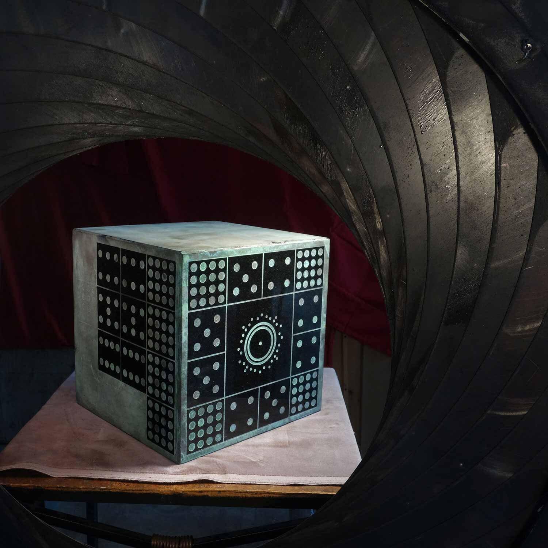 Duncan Iris Radionics - 4x4x4 Cube - carved oxidized shungite